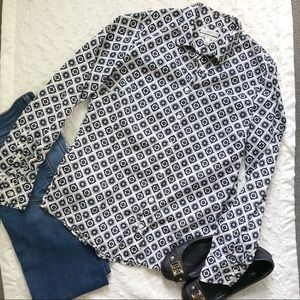 J Crew Perfect Shirt in Geometric Foulard Print